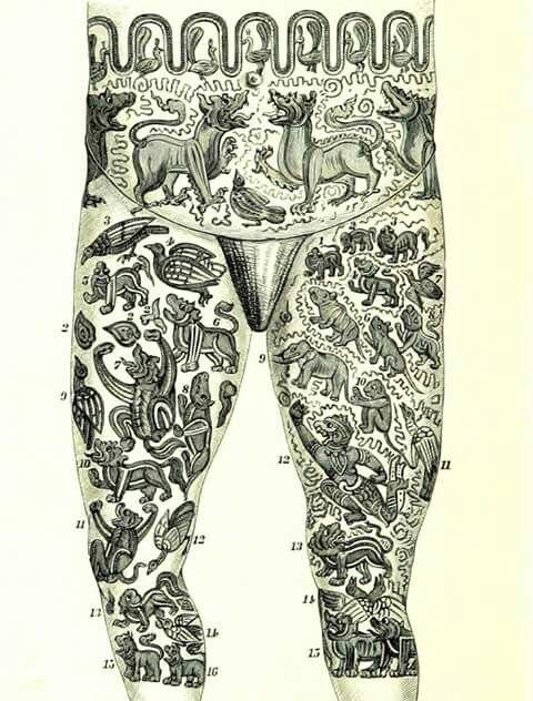 Kto ma dziary ze starymi obrazkami ze zwierzętami? Pokażcie! Tatuaż laotański w zwierzęta /How a Laosian is tattooed/ (Bock 1884)