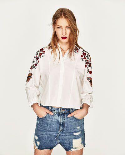 CAMISA BORDADO FLORES-Camisas-CAMISAS-MUJER | ZARA Colombia