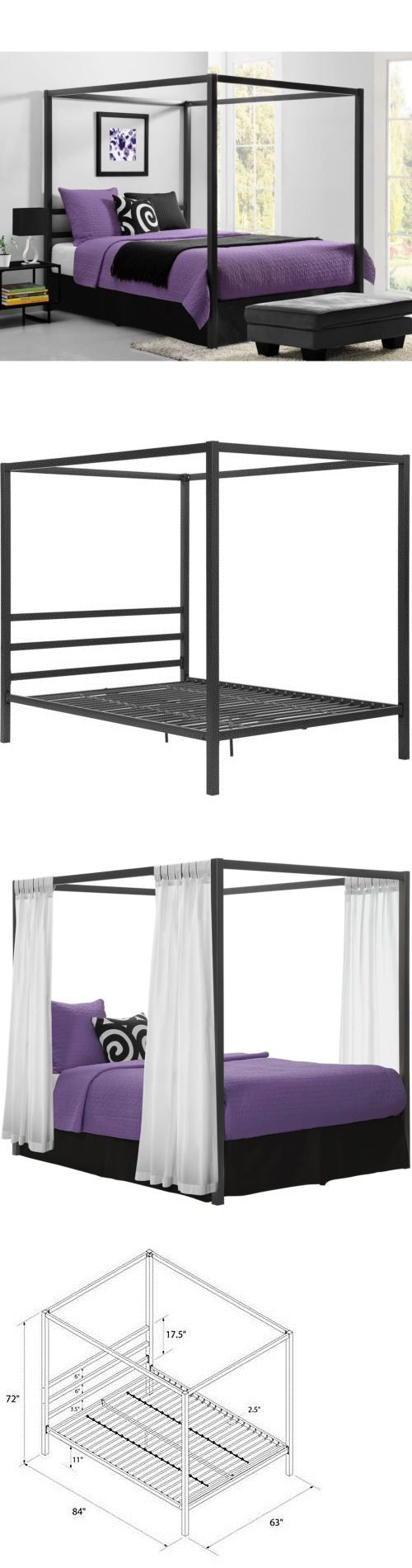 Canopies and Netting 48090: Queen Canopy Metal Bed Frame Modern Industrial Framed Headboard Platform Gray -> BUY IT NOW ONLY: $212.7 on eBay!