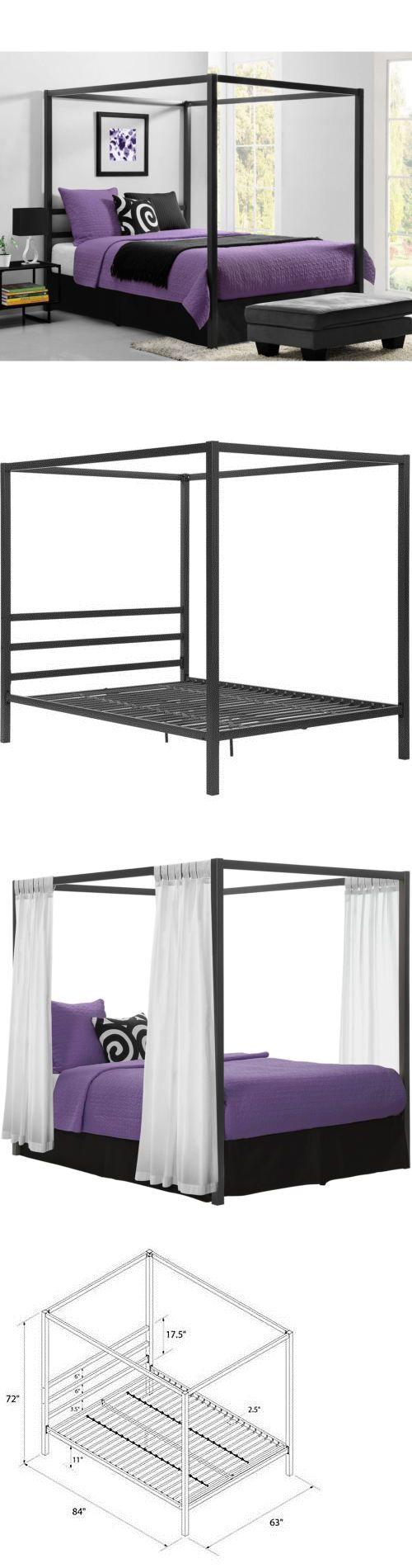 Baby jasper bed brackets - Canopies And Netting 48090 Queen Canopy Metal Bed Frame Modern Industrial Framed Headboard Platform Gray