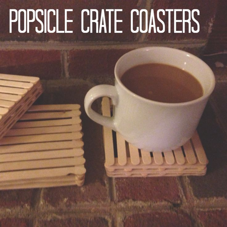 Crate Coaster Craft = Popsicle Sticks & Hot Glue Gun #blog {I used a $3 pack of Popsicle sticks from Hobby Lobby that ended up being enough for 4 coasters (with a little extra!). Simple, easy & FUN! Perfect touch for a rustic room. I may stain them later ;-) }