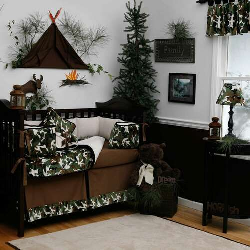 Green camo and wilderness baby room