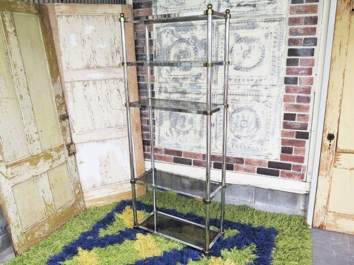 1950-60's ヴィンテージ ブラックガラス メタル ラック - アンティーク、ビンテージのインテリア家具や雑貨、店舗什器の通販ならWANT ANTIQUE LIFE STORE
