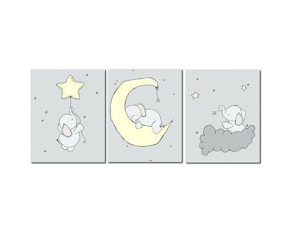 Elephant Nursery Art Prints, Pale Yellow and Gray Nursery Decor, Prints Set Of 3, Elephant Moon and Stars Art, Kids Wall Art