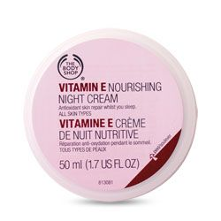 The body shop Vitamin e night cream (more soothing for skin at night than the seaweed one)