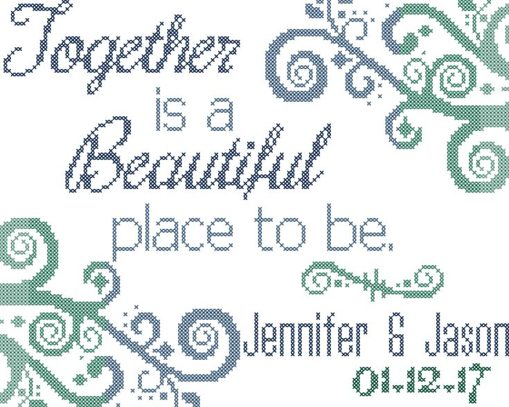 A personal favorite from my Etsy shop https://www.etsy.com/listing/462563678/wedding-cross-stitch-pattern-together-is