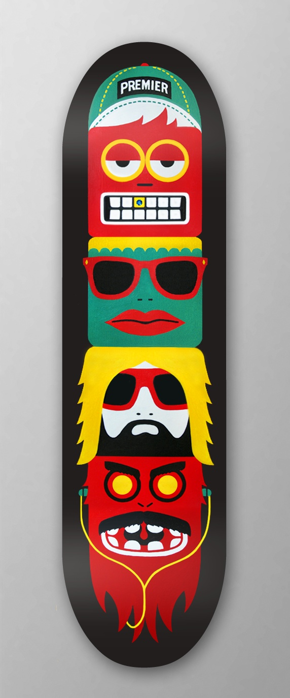 Some sort of strange skateboard design - Definitely has a pop-art vibe, though it does somewhat remind me of a totem pole. Definitely a weird skateboard.