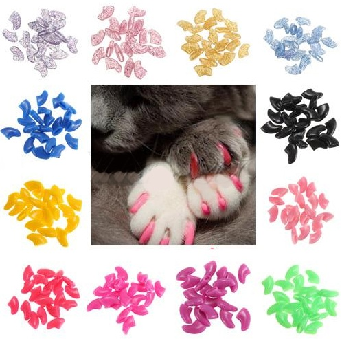 Cat Nail Cover Fake Claw Safety Glue-Ons Med