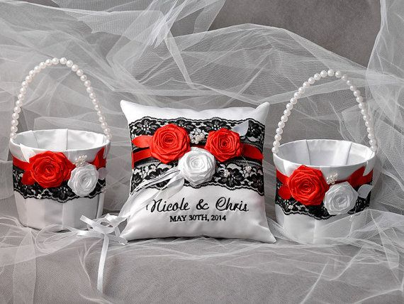 8 best images about flower girl baskets and ring pillows on flower girl basket ring bearer pillow set lace ring bearer pillow black white and red flowers mightylinksfo