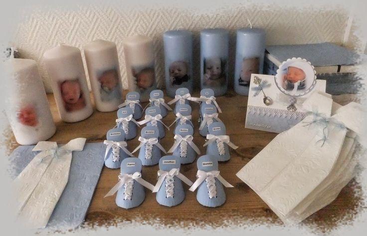 Connie`s lille verden: Bordkort, servietter og lys til Jonathan sin barnedåp