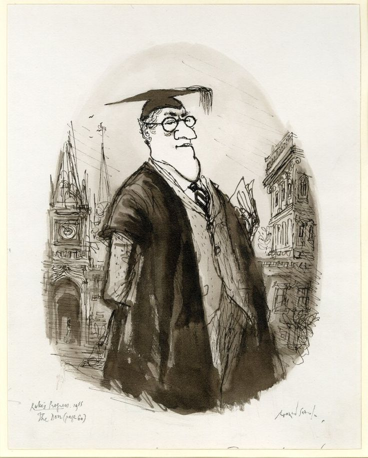 Portrait of 'The Don', one of sixteen 'portraits' for 'The Rake's Progress'; three-quarter length of a man, wearing academic robes. 1955 Pen, ink and wash
