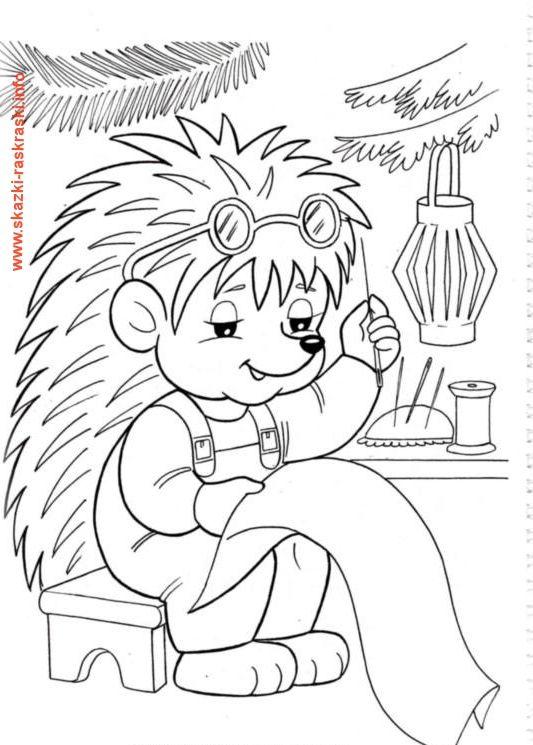 Раскраска ЕЖик с иголкой   Obrázky, Černobílý, Vánoce