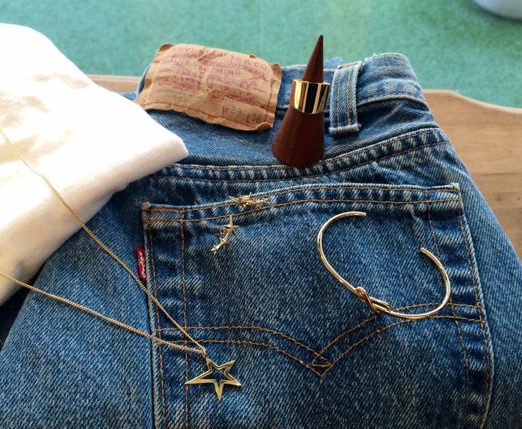 2015 S/S Gabriela Artigas ring pierced earrings necklace cuff gold star☆ used denim