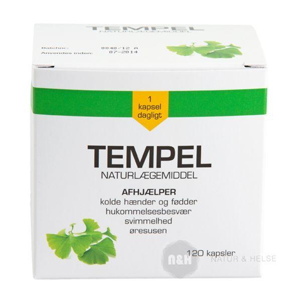 Tempel Naturlægemiddel afhjælper kolde hænder og fødder, hukommelsesbesvær, svimmelhed og susen for ørene.