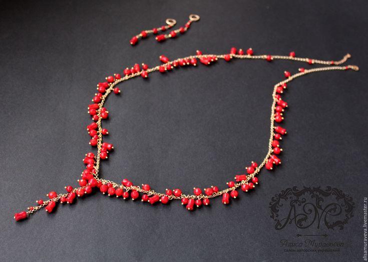 """Купить Сотуар - гроздь """" Яркие моменты """" коралл, позолота - ярко-красный, бусы"""