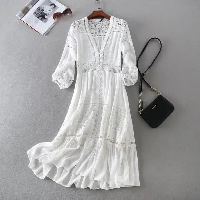 Boho Cotton Lace Patchwork Lantern Sleeve V-neck Bohemian Dress