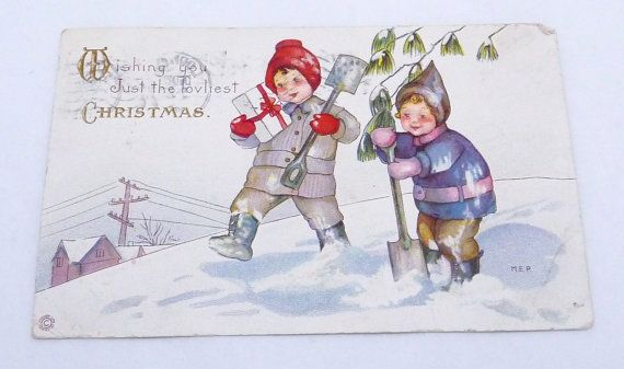 Antique 1915 Postcard Christmas Children Snow Shovels Lodi CA to Mound MN 21851