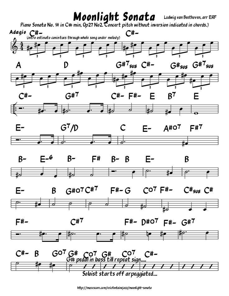 Moonlight Sonata (Jazz Lead Sheet) | Song sung Blue ...