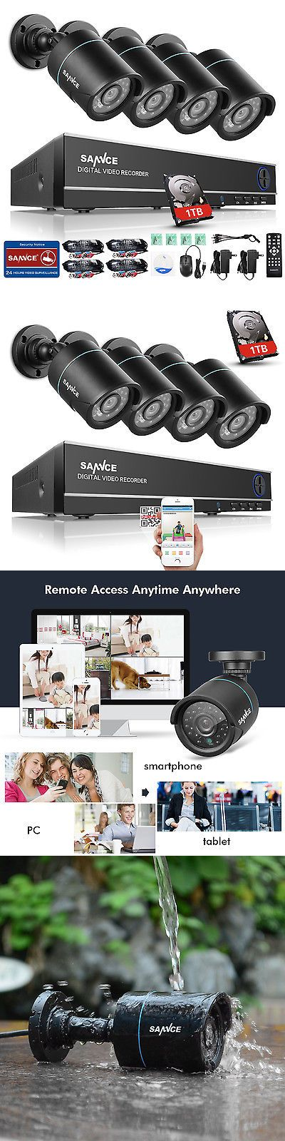 Surveillance Security Systems: Sannce 8Ch 1080N Hdmi Dvr 1500Tvl Outdoor Ir Cut Home Security Camera System 1Tb BUY IT NOW ONLY: $159.99