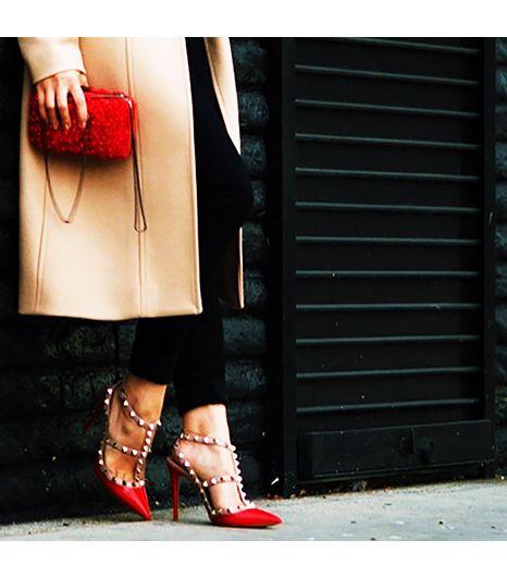 @Who What Wear - Halliedaily is wearing: Valentino heels, Reiss bag, Reiss coat.  Get The Look:  Valentino Faravani Rockstud Pump ($863)  See more ways to wear red heels on Pose.com.