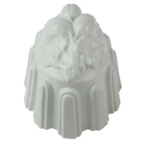 The original castings for these moulds were discovered in the attic of a Stoke on Trent pottery where they have been stored since Victorian times. They are made from hand cast white glazed china and are both practical and attractive. For best results lightly wipe the inside of the moulds with sweet almond oil before using.  Made in England.