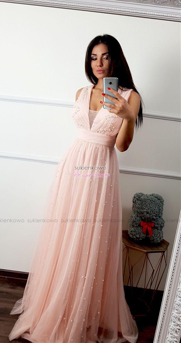 b9ece71ae7f8c4 Sukienkowo.com - ANASTAZJA - Długa tiulowa sukienka z perłami różowa ...