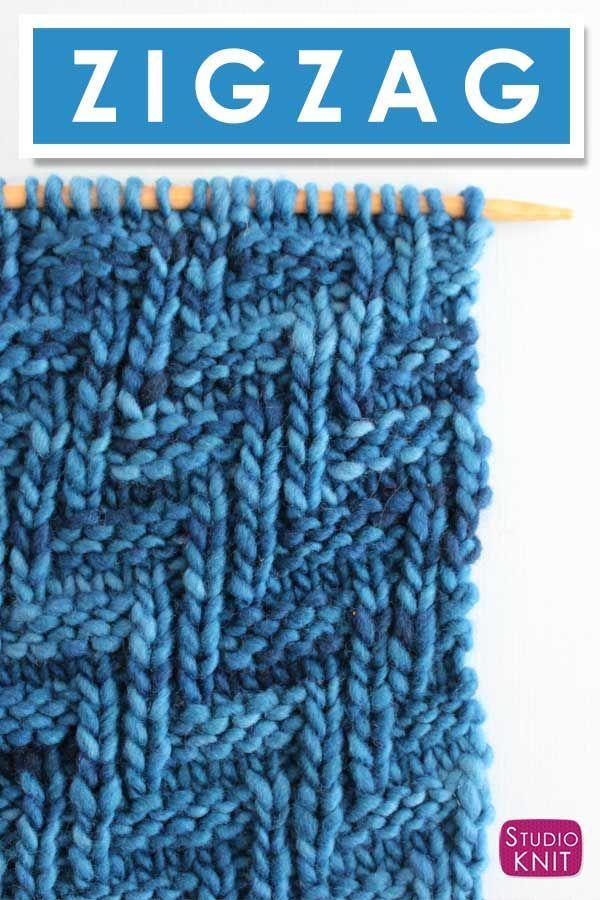 Como tricotar a diagonal em zigue-zague padrão de ponto de malha em zigue-zague