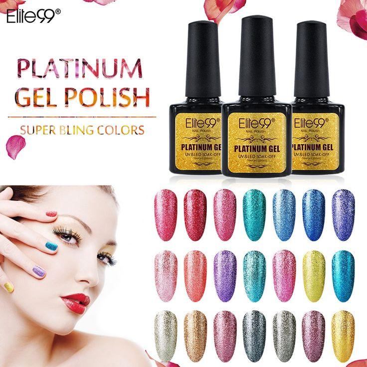 Elite99 Shimmer Platinum Gel Varnish UV LED Soak Off Polish Nail Art Full Set UV Gel Kit Manicure UV Nail Polish 10ml