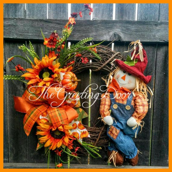 Fall Scarecrow Wreath Thanksgiving Wreath Fall by TheGreetingDoor