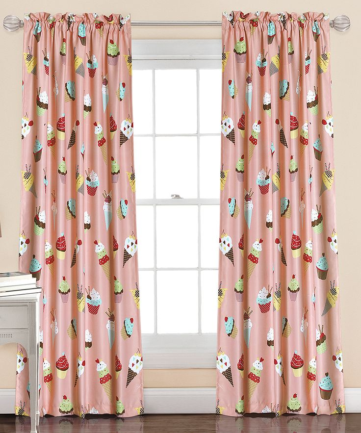 Pink Cupcake Ice Cream Curtain Panel - Set of Two