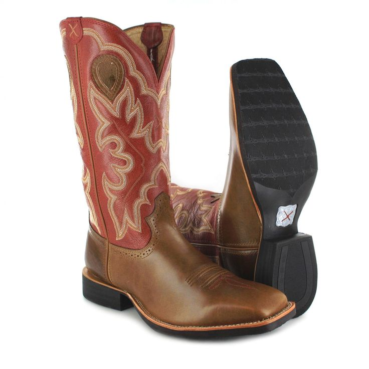 Twisted X Boots RUFF STOCK 1694 Westernreitstiefel - braun rot Herren Westernreitstiefel aus der Silver Buckle Collection-Kollektion der Marke Twisted X Boots