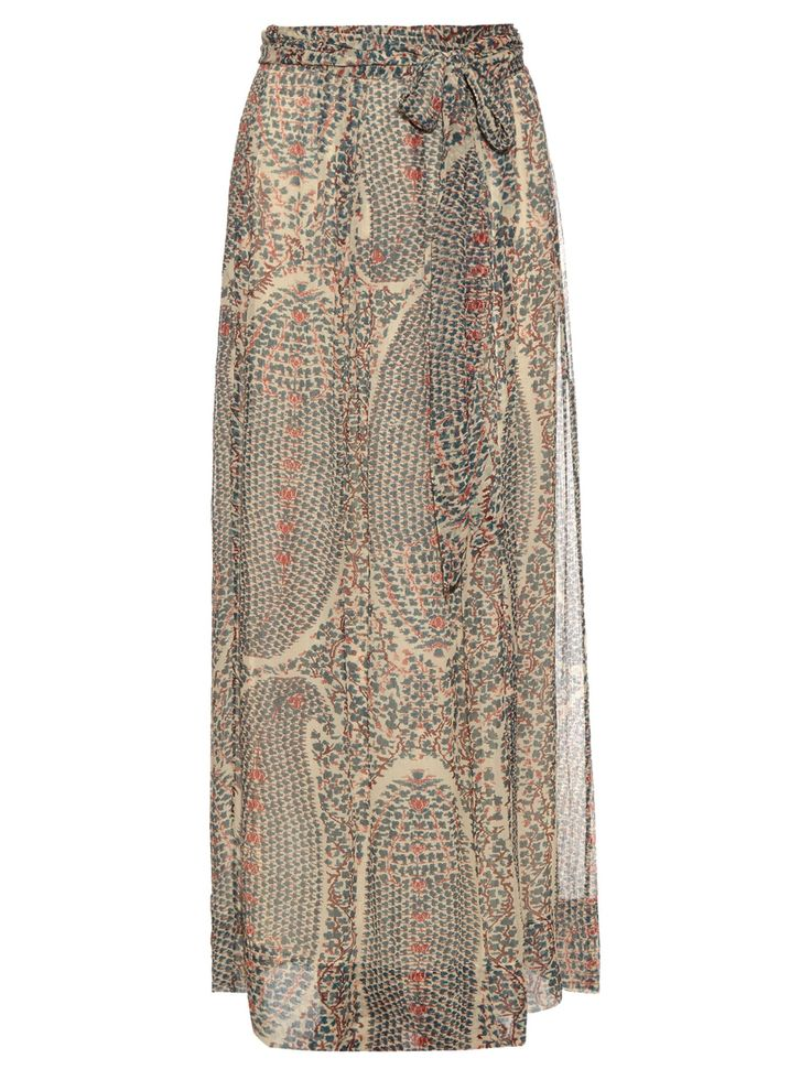 Isabel Marant Étoile's famed bohemian aesthetic continues to reign into the new season with this beige Sesley maxi skirt. The fluid design is cut from semi-sheer silk-georgette with a crinkled effect, and decorated with a botanical paisley print in shades of dark-green, red, and brown. Cinch it at the waist via the self-fastening tie and tuck in a neutral peasant top.