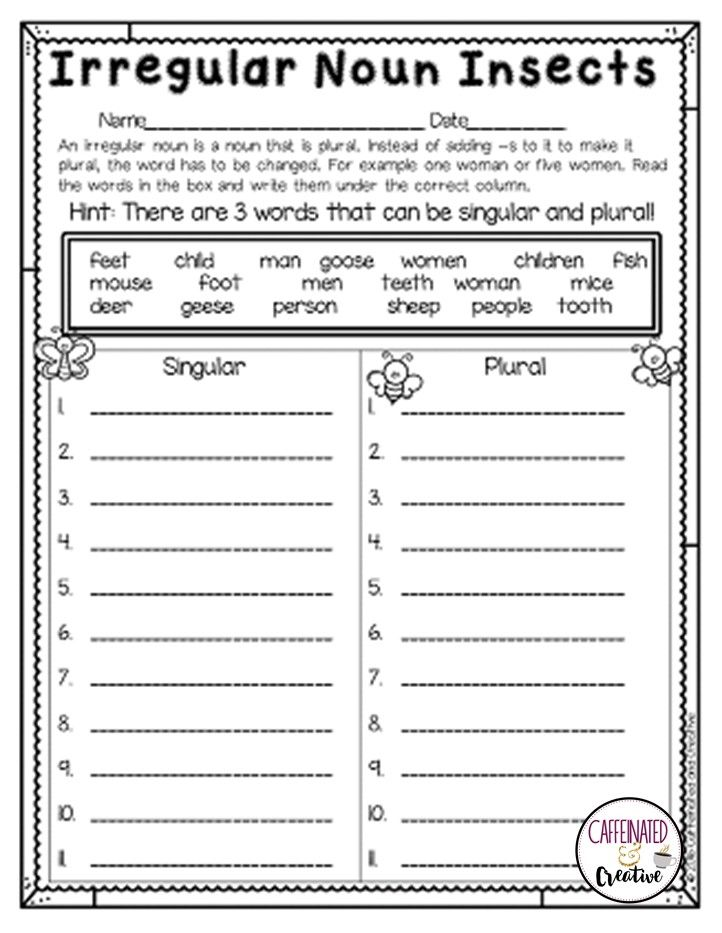 After reading each word, students will put the words under the correct column. Is the word singular or plural (making it an irregular noun).  Part of a Spring Literacy and Math No Prep Bundle for Second Grade.