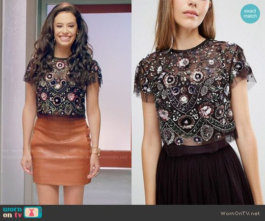 Kibby's black embellished crop top on Daytime Divas.  Outfit Details: https://wornontv.net/74635/ #DaytimeDivas