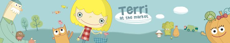 """Terri at the Market"" promo material for App Store promotion purposes. #interactive #cartoon #storybook #iPad"