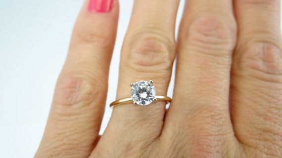 CZ Cubic Zirconia engagement ring14K Solid Gold by wandj4Less
