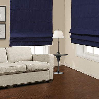 Traditional Dark Blue Blackout Roman Shade - USD $ 29.99 - for JT's room