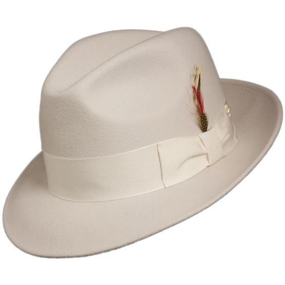 Mens White Fedora Hat 100% Wool