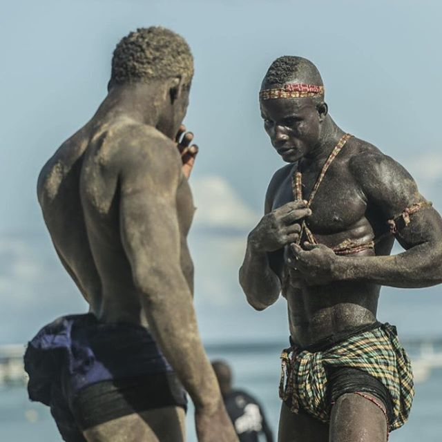 Senegalese Wrestling, also called Lutte or Laamb. Is a traditional folk wresting that has its roots in voodoo. You'll often see fighters training on the beaches of Dakar in the evening. The biggest sport in Senegal, going to a match is a must for any fight fan. #senegal #dakar #mma #laamb #lutte #wanderlustafrica