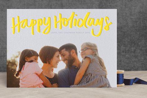 """Happy Holidays"" - Hand Drawn, Modern Letterpress Holiday Photo Cards in Lemon by Phrosne Ras. #merry #happyholidays #foil #gold #rosegold #merrychristmas #photocards #minted #holidayscards #cards #christmas #holiday #happynewyear #cheers #love #merrybright #religious #bright #joy #clean #simple #modern #elegant #glitter"