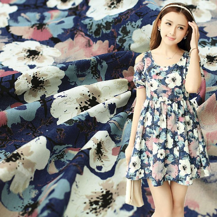 New arrival 50*145cm Vintage upholstery printed floral denim dress fabric by half meter
