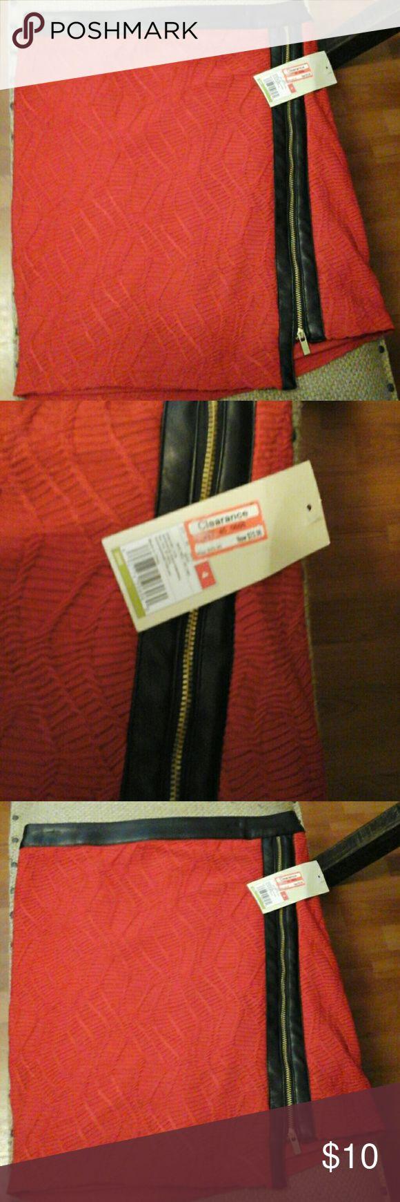 Skirt Red w/Black leather trim skirt Ambar Skirts Mini