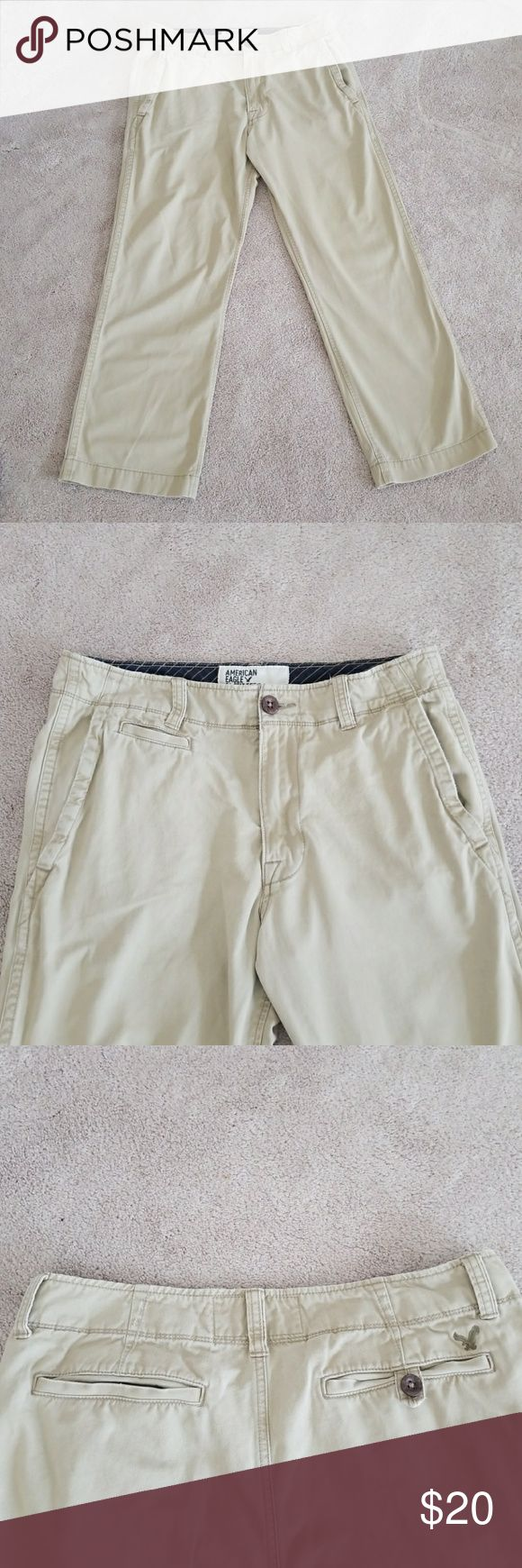 "American Eagle men's khaki pants, 34x30 Excellent condition, men's A&E khaki pants, size 34x30, worn a few times but too short for my husband. No stains tears. Has some minor fashion ""distressed"" look to bottom if cuffs and pocket area as seen in photo. Great for work or dinner! American Eagle Outfitters Pants Chinos & Khakis"