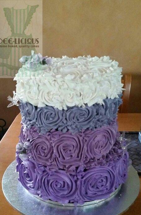 White choc, caramel and dark choc mud cake with buttercream rosettes