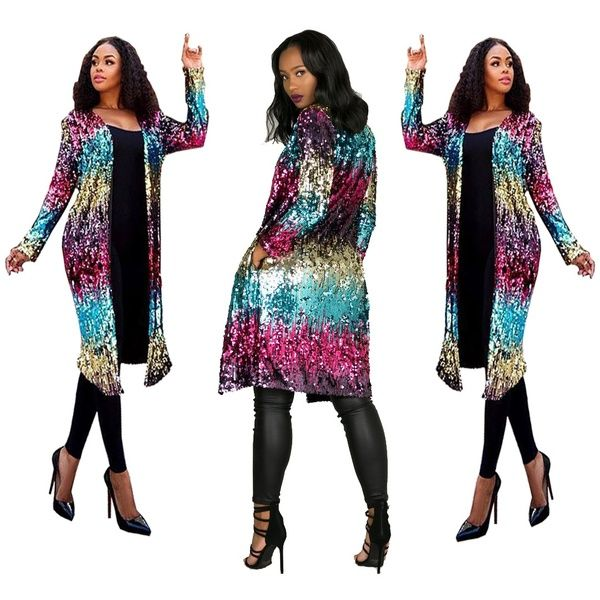 PROMLINK Womens Sequins Open Front Long Sleeve Club Cardigan for Evening Prom