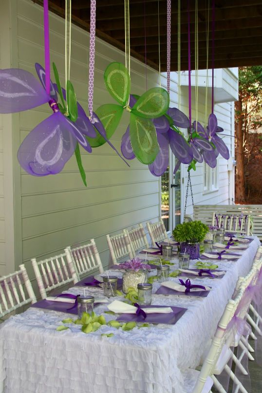 Purple Fairy Party - those hanging wings are a great/cheap idea! {my baby boy wouldn't appreciate this kind of party though, lol}
