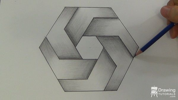 impossible shapes draw drawing hexagon drawings mydrawingtutorials geometric 3d tutorials figure illusion easy simple tutorial lips update read overlapping being