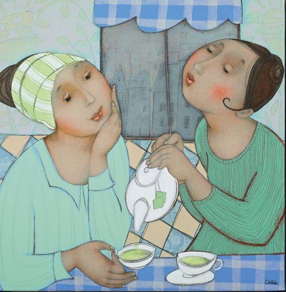 CARTE double - Pause thé vert - par Cécile Veilhan - 16x16 cm - sous blister + enveloppe