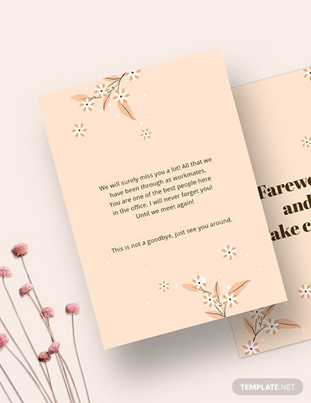 simple office farewell card template in 2020  card