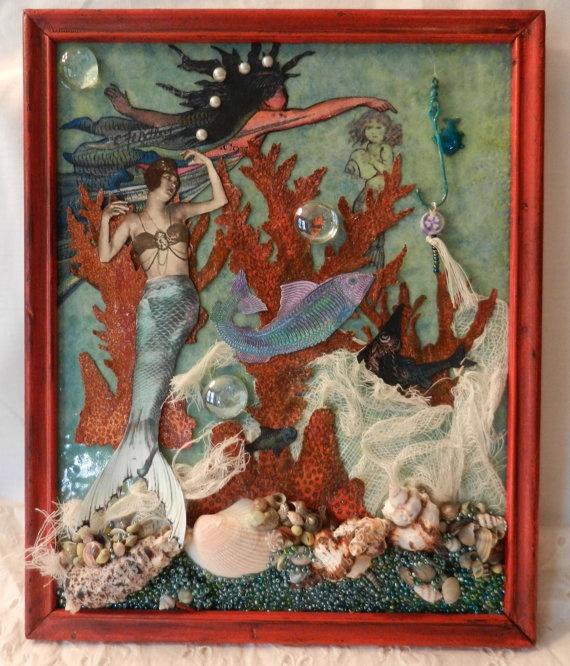 Mermaids Seashells Collage Coastal Decor Framed by WoodinVintage, $55.00Beach Art, Beachy Crafts, Beach Decor, Art Inspiration, Seashells Collage, Beach House'S Cottages, Mermaid Seashells, Beach Inspiration, Coastal